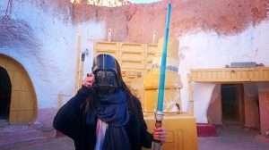 Woman wearing a Darth Vader mask at Hotel Sidi Idriss