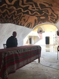 Randall in dining room of Hotel Sidi Idriss