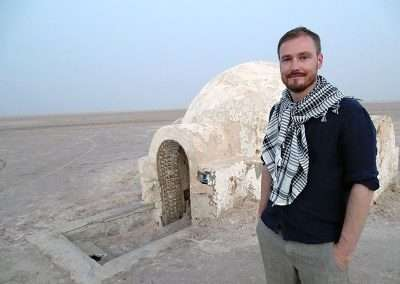 Stephen at igloo house at Chott el Jerid
